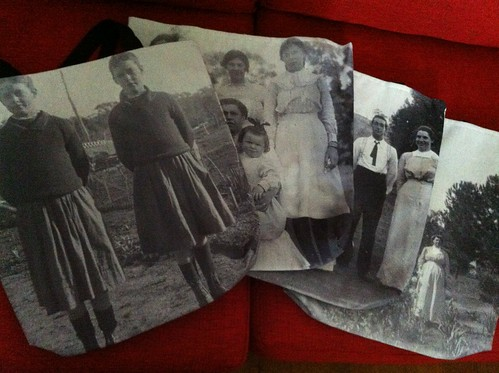 Old photographs printed on tote bags