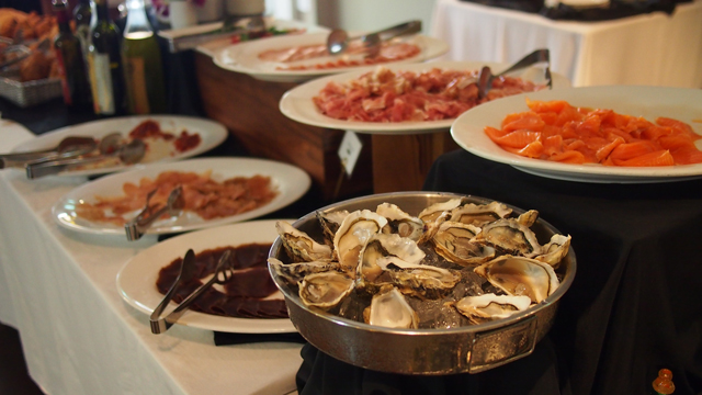 Oysters, smoked salmon and various cold cuts of meat