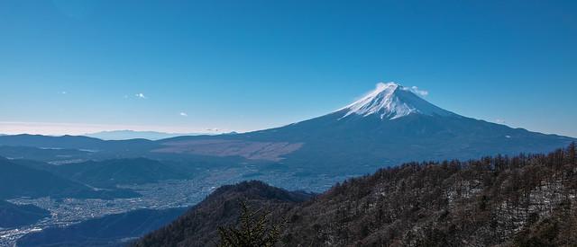 三ッ峠山荘から眺める富士山