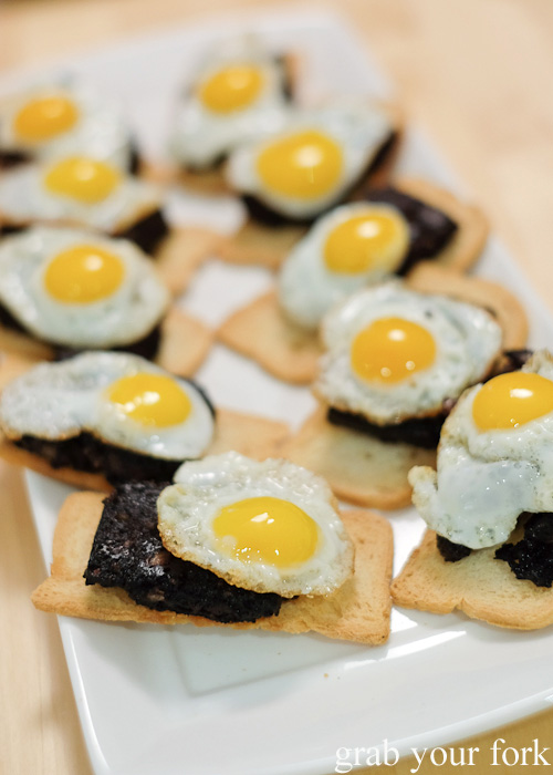 Homemade black pudding with quail eggs at the Stomachs Eleven Christmas dinner 2014