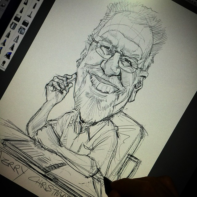 Digital writer caricature sketch
