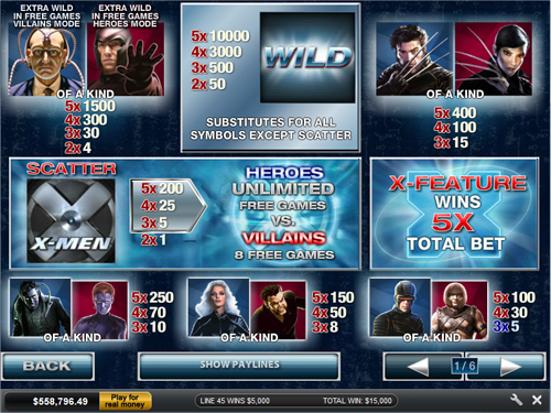 free X-Men 50 Line slot mini symbol