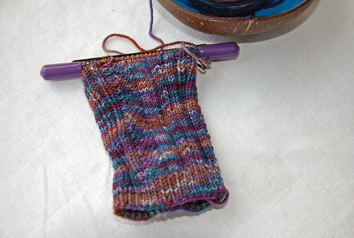 irieknit Ampersand sock in progress Indigodragonfly handdyed yarn