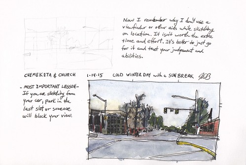 urban pen ink watercolor sketch penandink