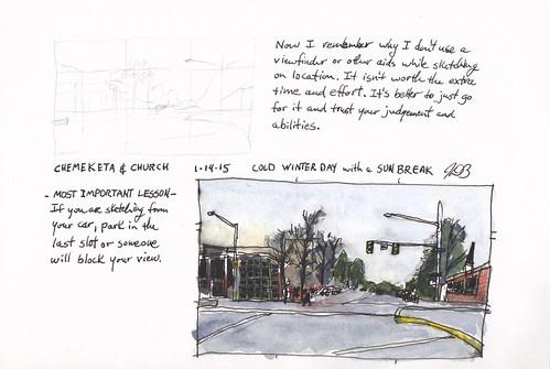 urban pen ink watercolor sketch penandink