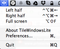 TileWindows Lite Menubar Options