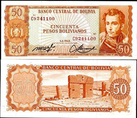 50 Pesos Bolivianos Bolívia 1962, Pick 162
