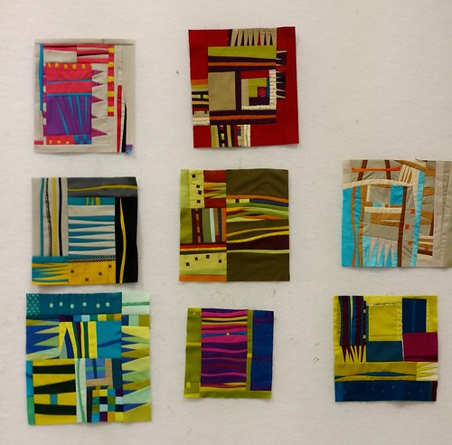 A selection of Small Sketches by students in Gwen Marston's QuiltCon West workshop.