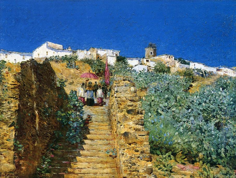 Church Procession, Spanish Steps by Frederick Childe Hassam - circa 1883