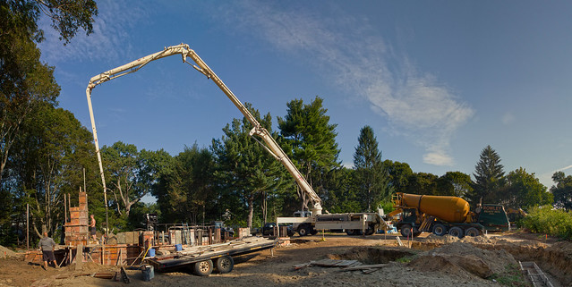 Pouring concrete at Prospect St house construction; Wakefield, MA (2016)