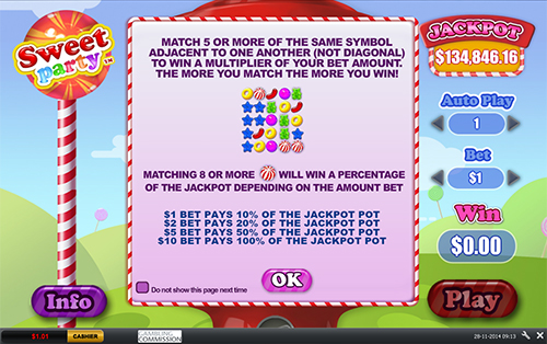 free Sweet Party progressive jackpot rules