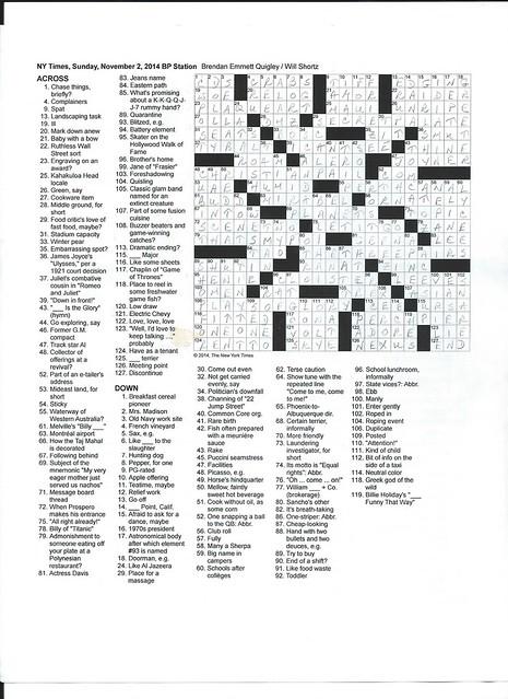 NYT Sunday Puzzle - November 2, 2014