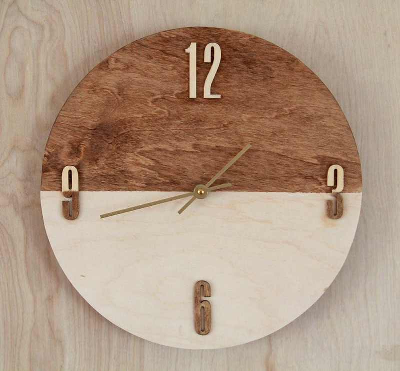 how to make a stained plywood clock via Kristina J blog