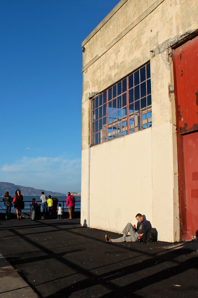 people watching at the San Francisco Marina