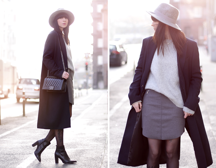 knitwear grey oversize coat h&m skirt hat heels chanel le boy bag ootd outfit styling fashionblogger germany modeblogger mädchen cool modemädchen ricarda schernus cats & dogs 5