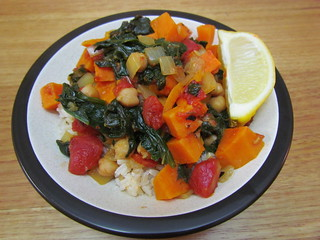 Tunisian Chickpeas with Sweet Potatoes and Greens
