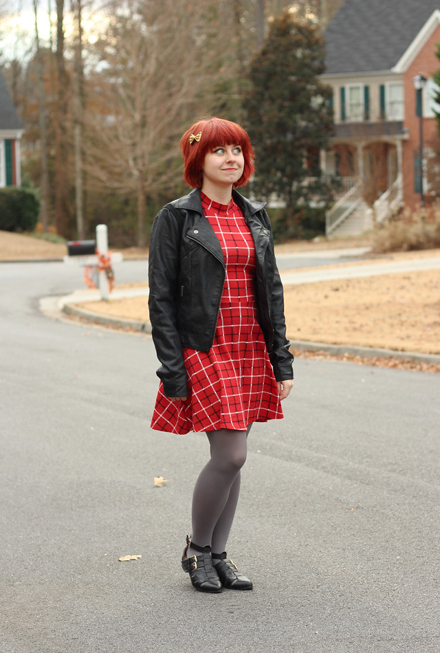 Plaid Mock Turtleneck Dress, Black Leather Jacket, Gray Tights, and Cutout Ankle Boots