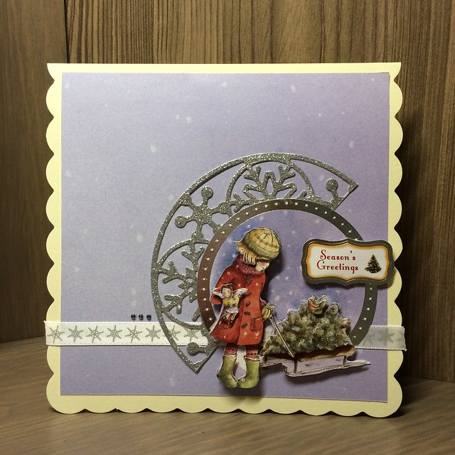 Christmas crafting - Purple Christmas decoupage card