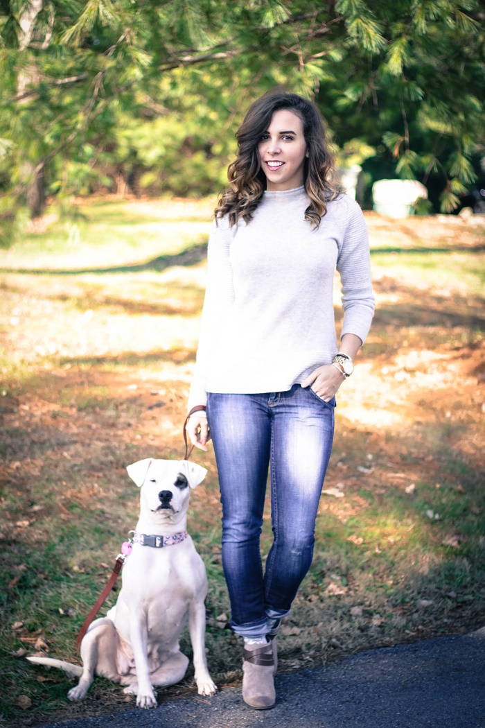 banana republic sweater. hudson jeans. dolce vita booties. casual fall style. rescue dog. adopt a dog.  va darling. 10