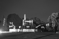 Banners at night on Eureka monument - Eureka160-IMG_9214