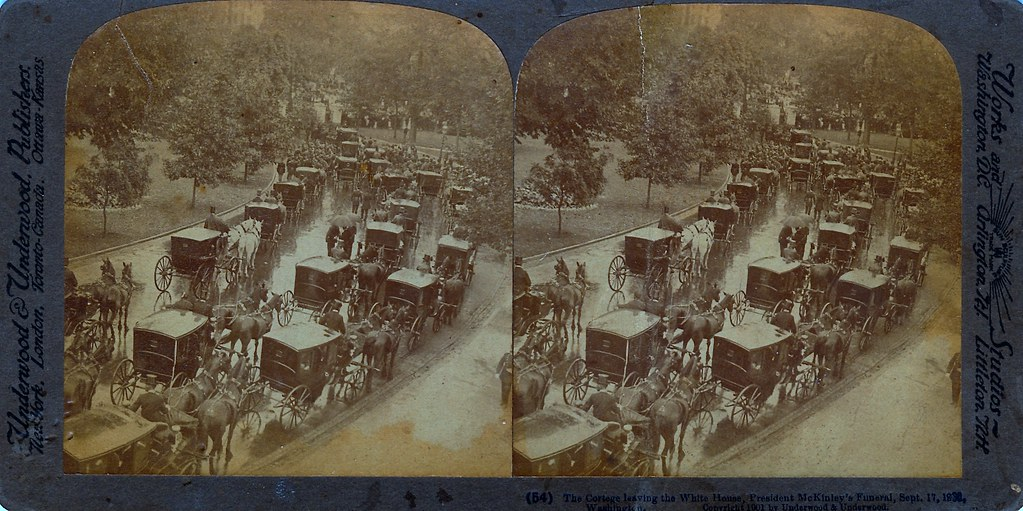 Cortage Leaving the White House, Funeral of President William McKinley, 17 September, 1901, Stereo-View Card