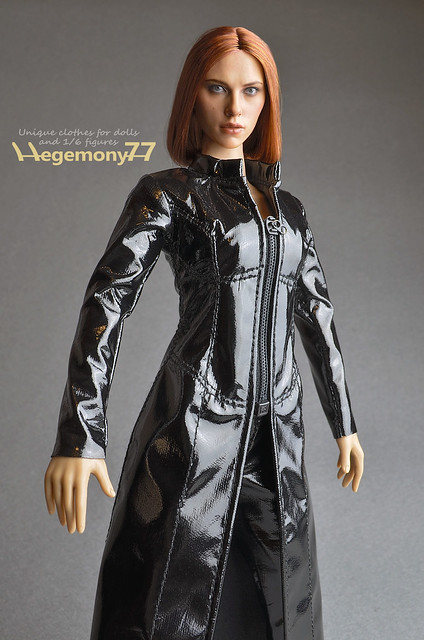 Sixth scale custom female figure outfit set - The Matrix Trinity Trench coat and leggings on Phicen seamless body
