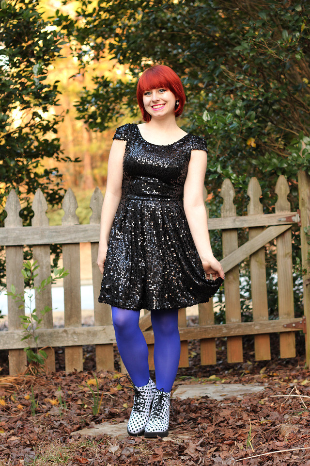 New Year's Eve Outfit Sequined Black Dress and Bright Blue Tights