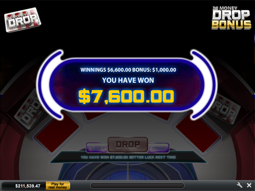 free The Money Drop bonus feature win