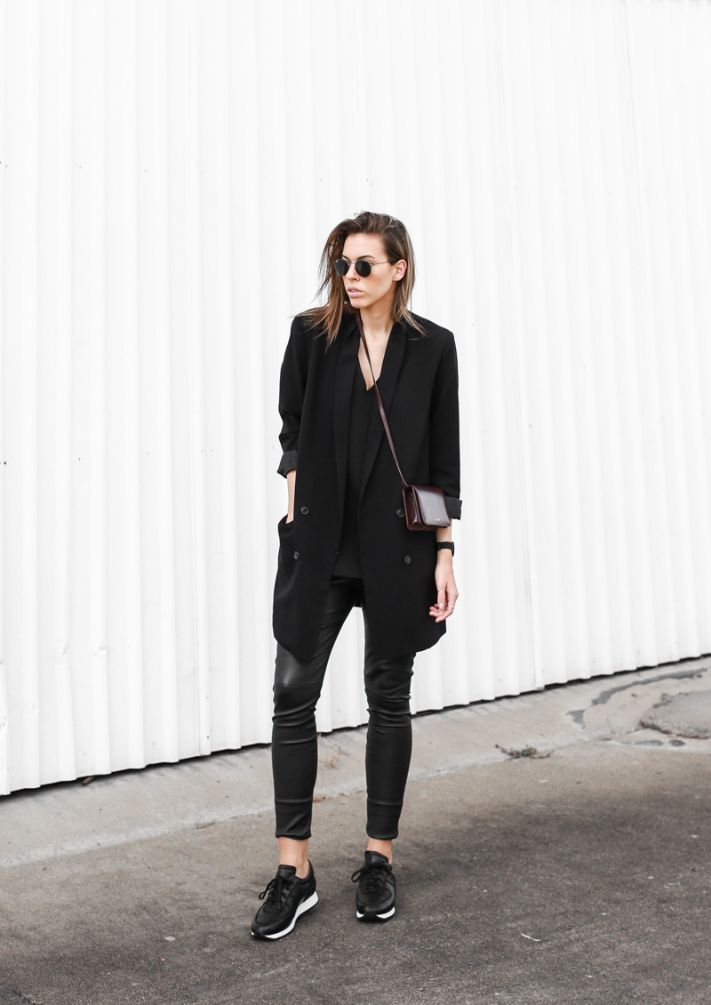 MODERN LEGACY fashion blog street style Saint Laurent bag sneakers boyfriend blazer leather leggings all black  (1 of 1)