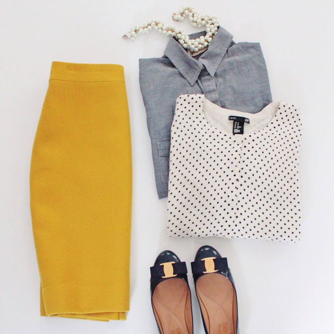 mustard chambray dots pearls