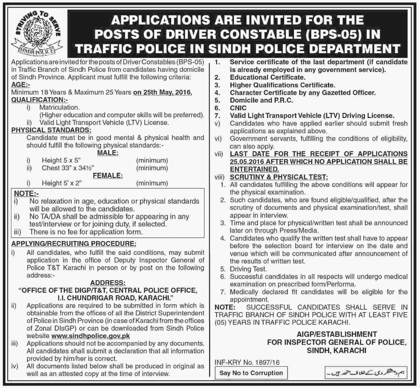 Traffic Police Department Government of Sindh Jobs