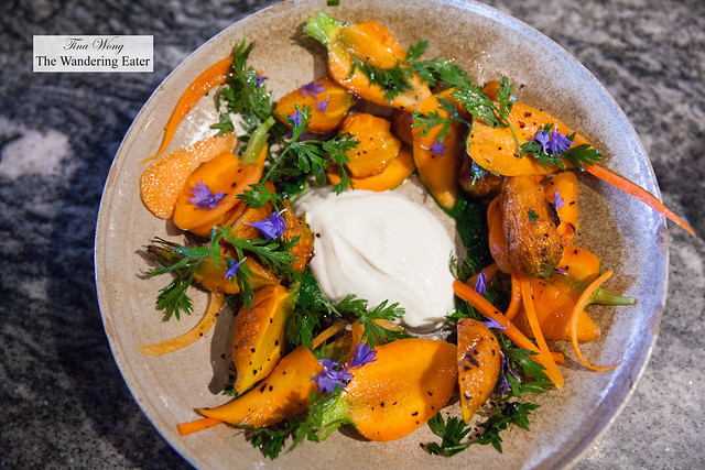 Carrot Salad raw, roasted & pickled, pistou, charred onion, pecan, yogurt