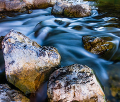 Stones in a river long exposures