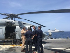 Op Atalanta Force Commander arrives aboard ESPS Santa Maria from Flagship HNLMS Tromp (seen in background)