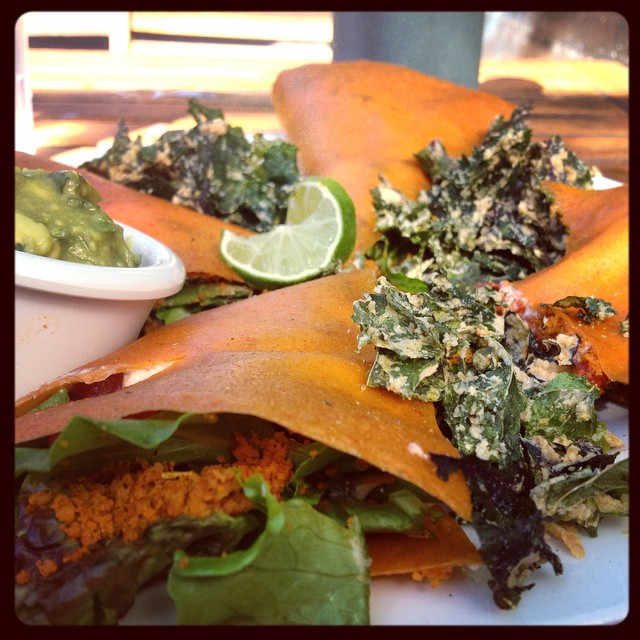 Quesadillas at a raw, #vegan shop next to the beach = so SoCal you can't stand it. Also, delicious. #whatveganseat