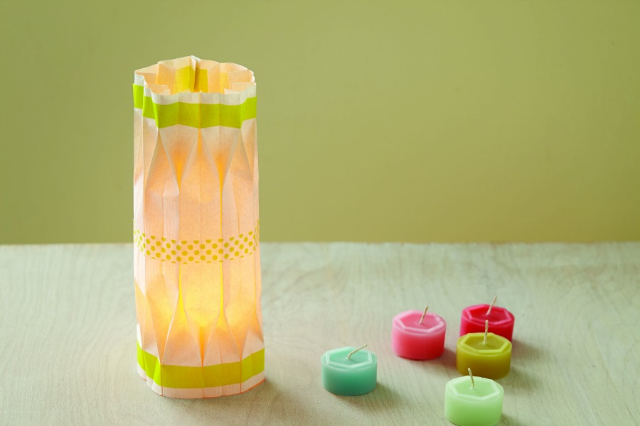 Folded Paper Luminaries with Washi Tape