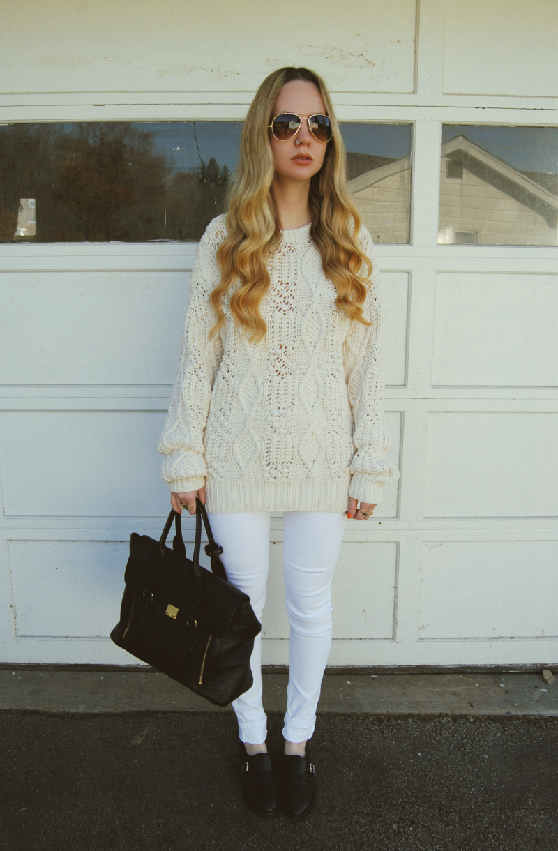 PhillipLimPashli_ShoemintBlackLoafers_WhiteJeans_VintageCreamSweater