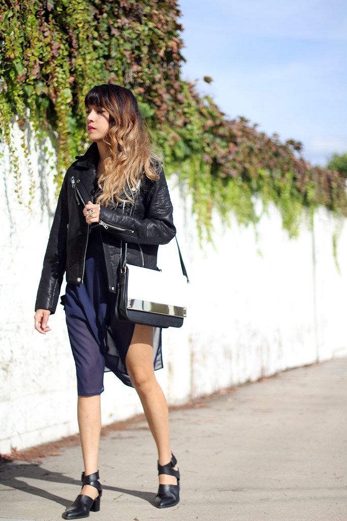 Moto jacket, Swaychic top, Missguided purse, Zara boots