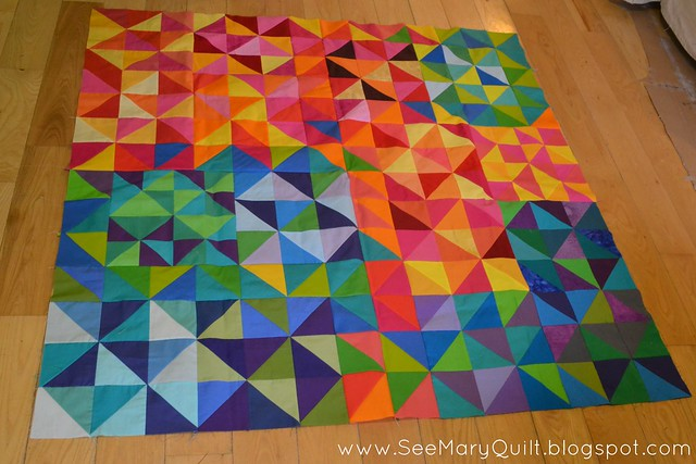 Solid HSTs quilt flimsy do. Good Stitches Cheer Circle