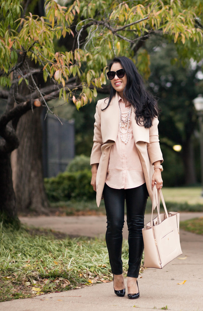 cute & little blog | petite fashion | maternity baby bump pregnancy | oasap cape collar wool coat, loft mixed media blouse, ann taylor tiered pearl necklace, target leather ponte pants, louboutin decollete pumps, ann taylor gallery tote | fall winter outf