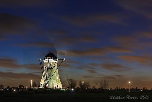 blue light sunset cloud windmill landscape wolken spinning bluehour polder molen alight krimpenerwaard haastrecht vlist boezemmolen