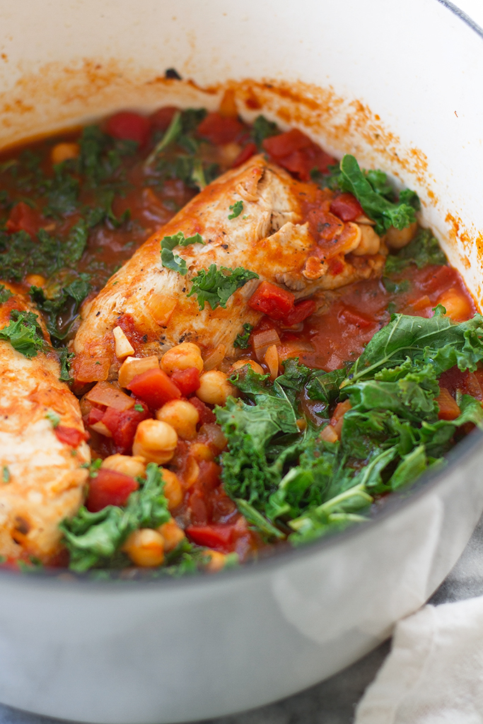 Chipotle Chicken Stew with Chickpeas and Kale - a quick and easy stew that requires on a few ingredients and barely any hands on work! #chickestew #chickpeas #kale #garbanzobeans #chipotlestew | littlespicejar.com