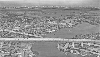 Drawing of I-5 ship canal bridge, 1951