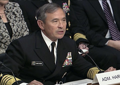 WASHINGTON (Dec. 2, 2014) Adm. Harry B. Harris, Jr., commander of U.S. Pacific Fleet, testifies before the Senate Armed Services Committee during a hearing to consider his nomination for reappointment to the grade of Admiral and to be Commander, U.S. Pacific Command. (Department of Defense photo)