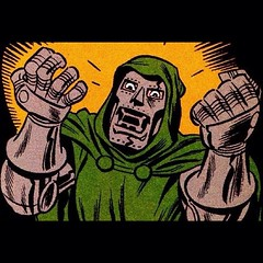 """You ate ALL the turkey yesterday? I can't make a sandwich!?""#DoctorDoom by Bruce Timm. #comic"