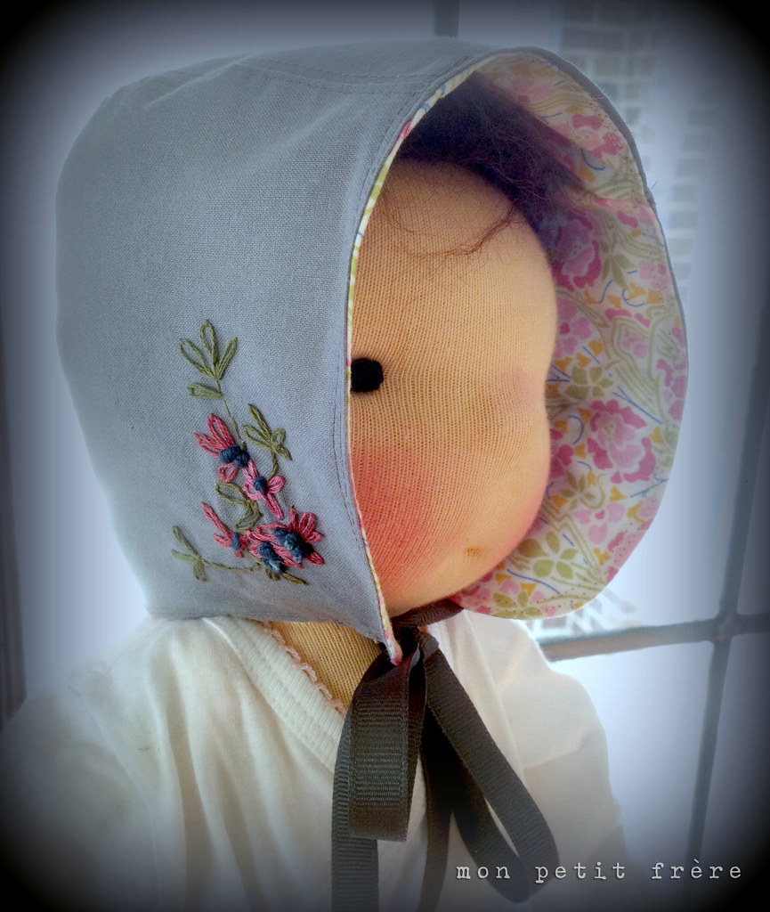 Hand embroidered doll bonnet