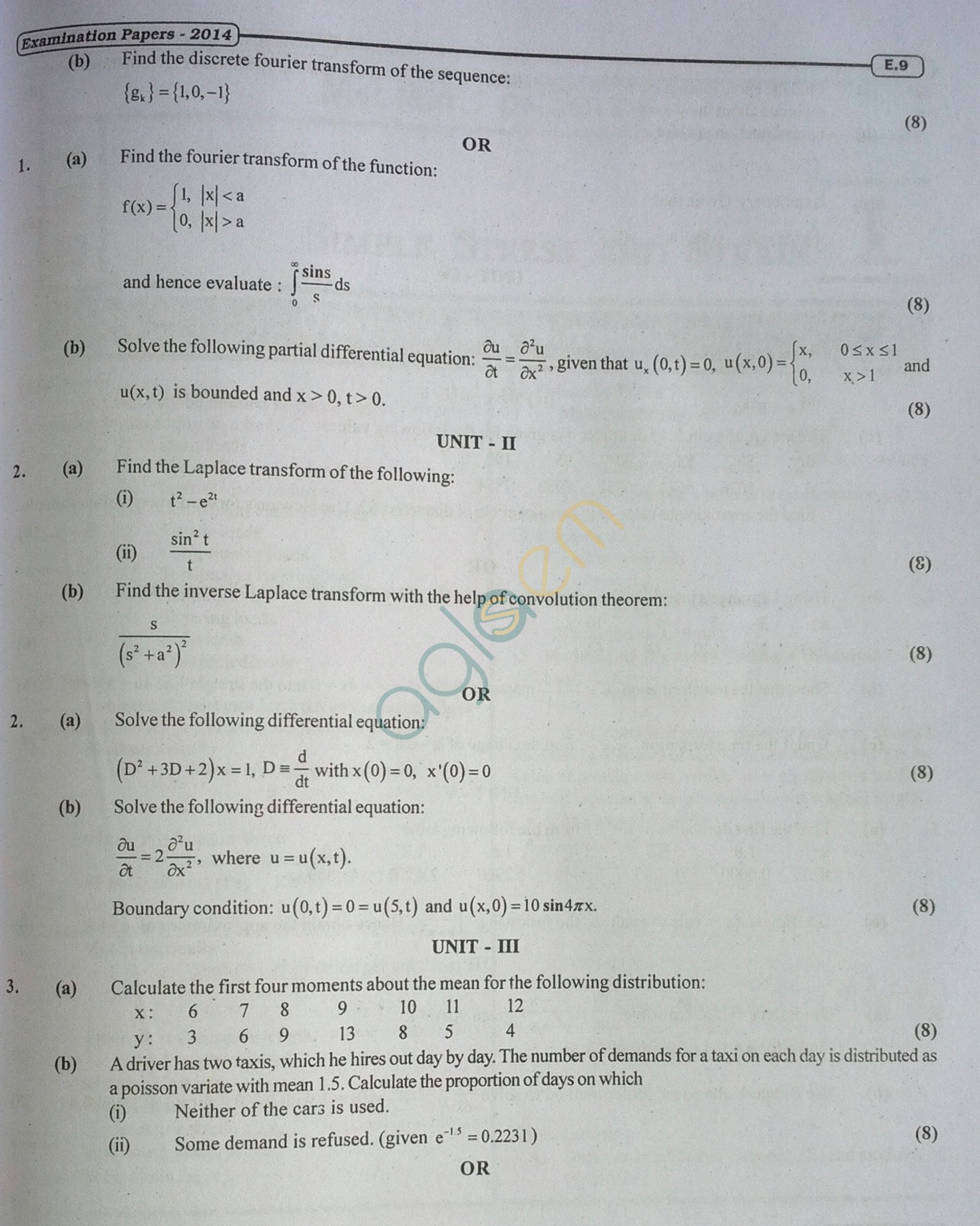RTU: Question Papers 2014 - 3 Semester - ME - 3E1636