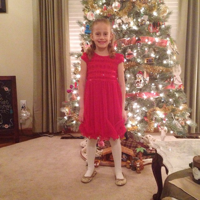 Autumn ready for her Christmas program at school. 😍❤️ (don't even ask what I bribed her with to get her to smile... A dab of lipstick. I know! I shouldn't have!)