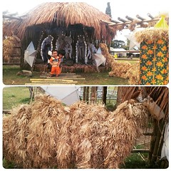 #Cousins Kenji and JJ enjoy this  #Belen which features recycled materials □□At the Christmas Bazaar 2014□□