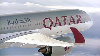 Qatar Airways A350-900 air to air front section (Airbus)